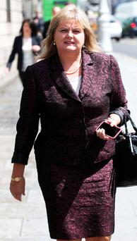 Angela Kerins leaving the High Court