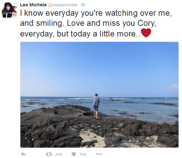 Lea Michele Twitter tribute to Cory Monteith
