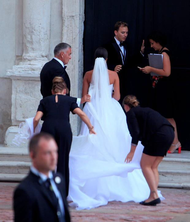 Serbian tennis player Ana Ivanovic enters a church to get married with German football player Bastian Schweinsteiger in Venice