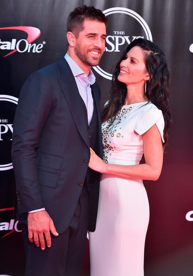 Football player Aaron Rodgers and actress Olivia Munn attend the 2016 ESPYS at Microsoft Theater on July 13, 2016 in Los Angeles, California. (Photo by Alberto E. Rodriguez/Getty Images)