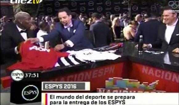 Paul pogba was handed the jersey at the ESPYs