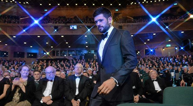 Dublin footballer Cian O'Sullivan makes his way to the stage to receive his award at the GAA GPA All-Star Awards 2015