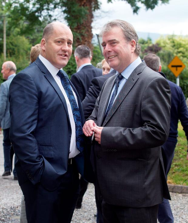 PR consultant Brian Purcell with former Independent Newspapers Managing Editor, Michael Denieffe at the funeral of Joe Hayes, former managing Director of Independent Newspapers in the Church of Our Lady of Mercy, Crosschapel, Blessington. Photo: Tony Gavin 14/7/2016