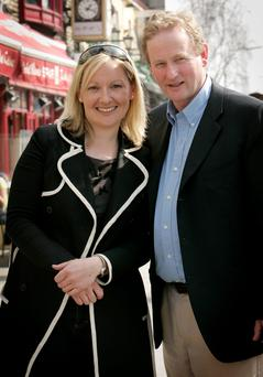 Enda Kenny supporting Lucinda Creighton while she campaigned for Fine Gael in 2007 – she later left the party to form Renua but quit politics this year. Photo: Gerry Mooney