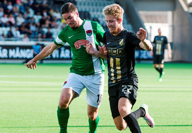 Cork City's Michael McSweeney in action against BK Hacken's Samuel Gustafson. Photo: Mathias Bergeld /Sportsfile