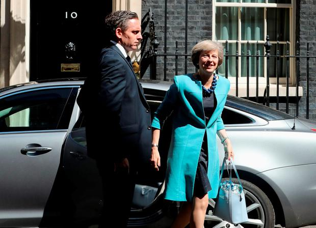 New British Prime Minister Theresa May arriving at No 10 Downing Street yesterday to appoint her cabinet. Photo: Dan Kitwood/Getty Images