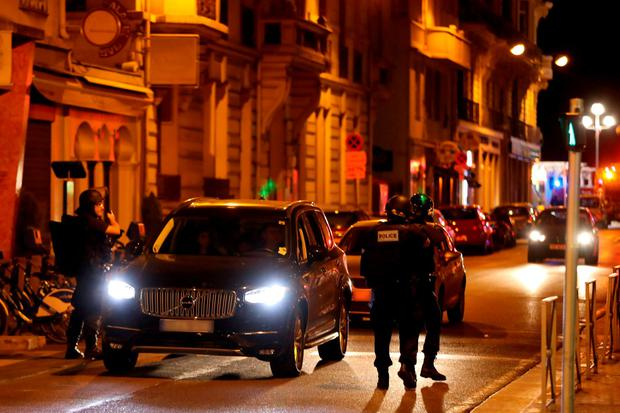 Police officers carry out checks on vehicles in the centre of French Riviera town of Nice, after a van drove into a crowd watching a fireworks display on Bastille Day. Photo: AFP/Getty Images