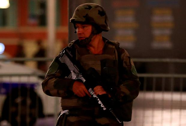 A soldier stands guard near the site. Photo: AFP/Getty