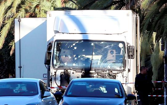 The truck which slammed into the crowd that had gathered for a Bastille Day fireworks display in the Riviera city of Nice. (AP Photo/Luca Bruno)