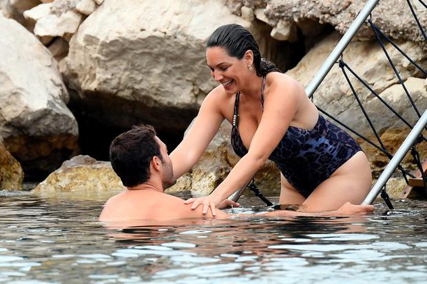 Jeremy Parisi and Kelly Brook are seen on July 14, 2016 in Ischia, Italy. (Photo by Pretaflash/GC Images)