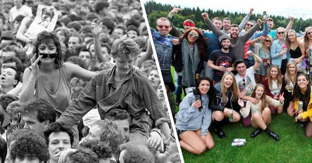 (l) Fans line out for David Bowie at Slane Castle July 1987. Photo: Part of the Independent Newspapers Ireland/NLI collection. / (r) Music fans arrive at Electric Picnic 2015. Photo: Stephen Collins/Collins Photos