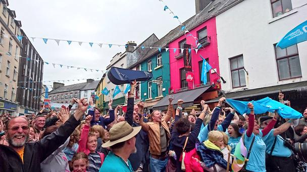 Crowds erupt with joy on streets of Galway (Photo: Galway Arts Festival)