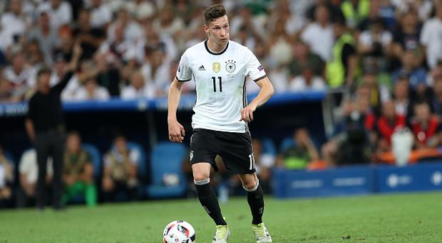 MARSEILLE, FRANCE - JULY 7: Julian Draxler of Germany vies for the ball during the UEFA Euro 2016 semi final match between Germany and France at Stade Velodrome in Merseille, France on July 7, 2016. (Photo by Metin Pala/Anadolu Agency/Getty Images)