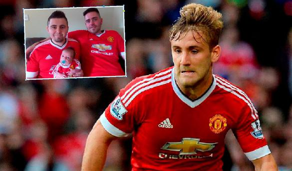 Luke Shaw and (inset) Steve with his son Luke and brother Will (right)