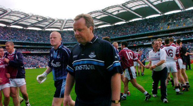 A dejected Tommy Lyons leaves the pitch after defeat to Westmeath in 2004