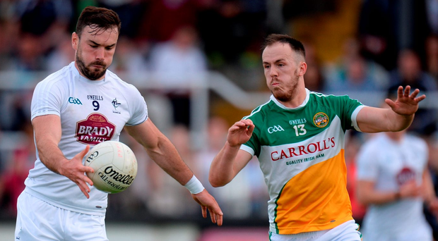 Fergal Conway of Kildare in action against Graham Guilfoyle of Offaly - the Lilywhites face Mayo today. Photo: Piaras Ó Mídheach/Sportsfile
