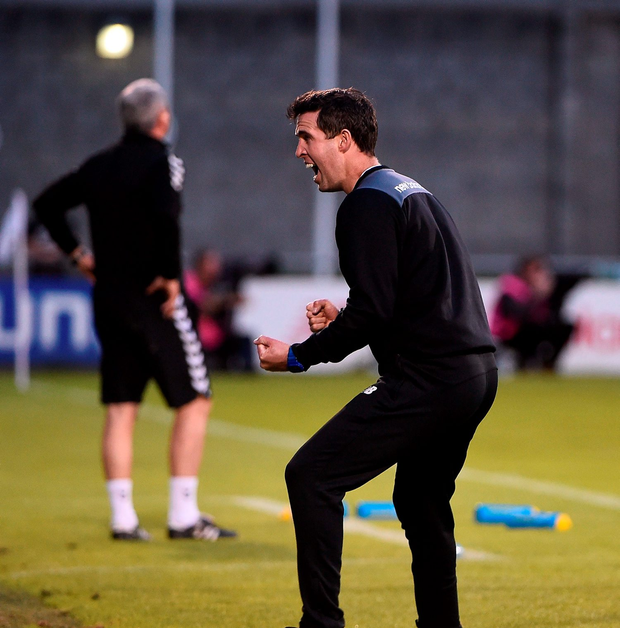Stephen Bradley, caretaker manager of Shamrock Rovers, celebrates after Sean Boyd scored his side's third goal