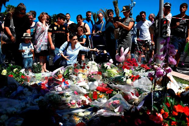 Floral tributes on the promenade in Nice. AFP/Getty Images