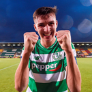 Sean Boyd of Shamrock Rovers celebrates at the end of the SSE Airtricity League Premier Division match between Shamrock Rovers and Bohemian FC
