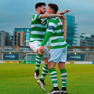 Dean Clarke celebrates with Brandon Miele after scoring against Bohemians. Photo: Eóin Noonan/Sportsfile