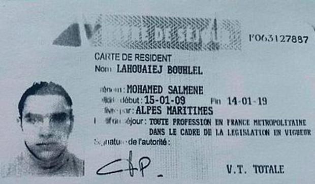 A reproduction of the residence permit of Mohamed Lahouaiej-Bouhlel, the man who rammed his truck into a crowd celebrating Bastille Day in Nice. Photo: AFP/Getty Images