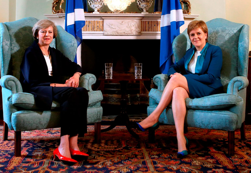 UK Prime Minister Theresa May meets with Scotland's First Minister Nicola Sturgeon at Bute House in Edinburgh. Photo: Andrew Milligan /PA Wire