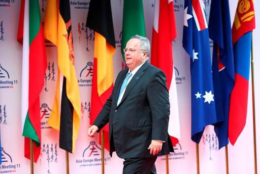 Greek Foreign Minister Nikos Kotzias arrives for the 11th Asia-Europe Meeting (ASEM) Summit of Heads of State and Government (ASEM11) in Ulan Bator, Mongolia, 15 July 2016. REUTERS/Wu Hong/Pool