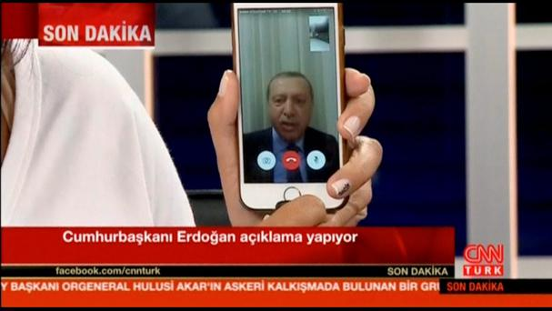 Still frame taken from video shows Turkey's President Tayyip Erdogan speaking via a Facetime video connection to address the nation during an attempted coup, in Marmais, Turkey