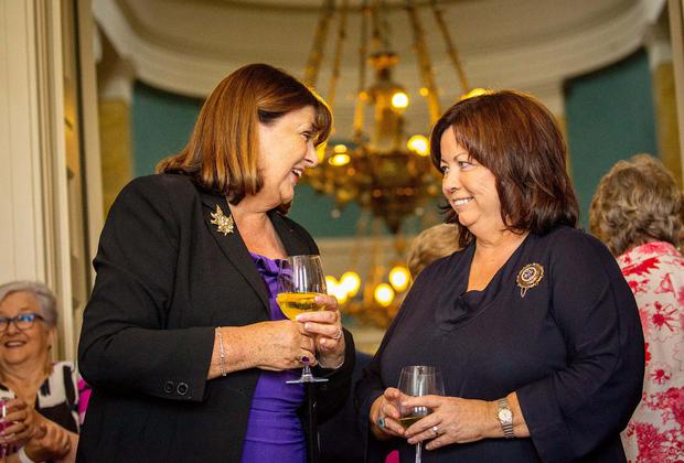 Maire Geoghegan-Quinn talking to Mary Harney as part of a group of current and former female government ministers, that gathered at Lissadell House in Sligo, to commemorate the 89th anniversary of the death of Countess Markievicz. Photo: James Connolly