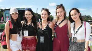 Rebecca Slevin, Carla Kehoe,Tara Butler, Ciara Lawlor and Rachel Walsh pictured at the 3Live experience at Longitude, where Three made sure festival goers were charged up and ready to enjoy the three day music festival. Attendees were able to personalise their festival experience by starring in a music video, charge up their handsets, get festival make-up and accessories and enjoy DJ sets from a host of acts including Eoghan McDermott, Marcus O'Laoire and Today FM's Claire Beck. Pictures: Brian McEvoy