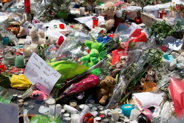 The Scene of thursdays Truck Disaster in Nice ,with Floral Tributes and Messages. Photo: Kyran O'Brien
