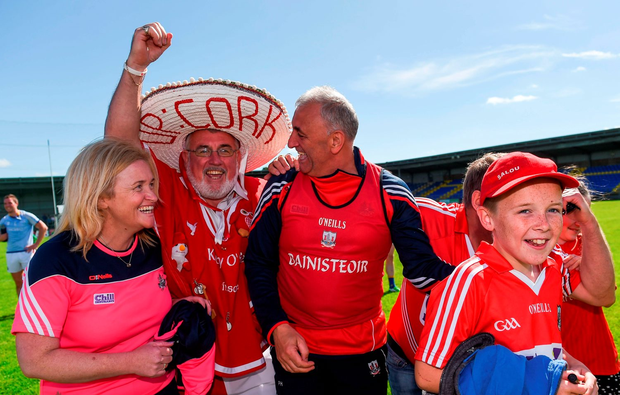 Cork manager Peadar Healy with supporters following the GAA Football All-Ireland Senior Championship Round 3B match between Longford and Cork at Glennon Brothers Pearse