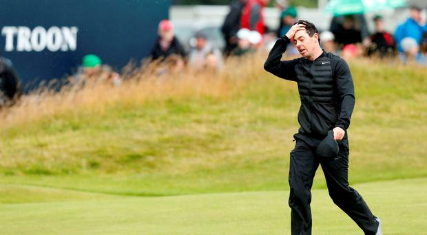 Rory McIlroy on the 18th during day three of The Open Championship 2016 at Royal Troon