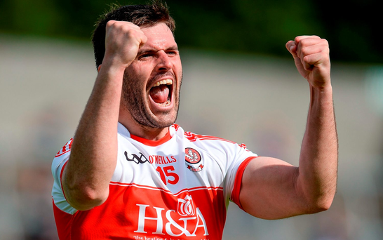 Mark Lynch of Derry celebrates victory at the final whistle