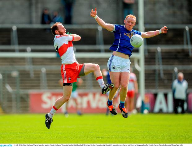 Cian Mackey of Cavan in action against Ciarán Mullan of Derry