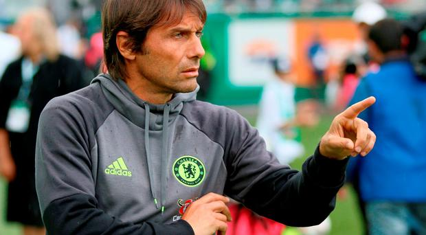 Chelsea's head coach Antonio Conte reacts during friendly between Rapid and Chelsea