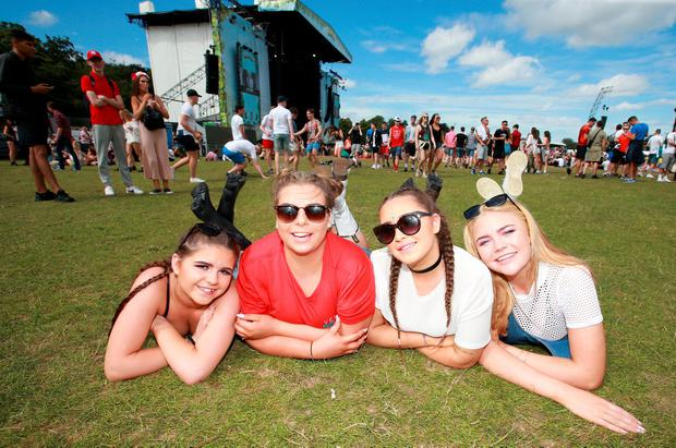 Chloe Melia, with Meagan Swift, Alex Duggan and Shannon Melia all from Blanchardstown pictured at Longitude in Marley Park. Picture Credit : Frank Mc Grath