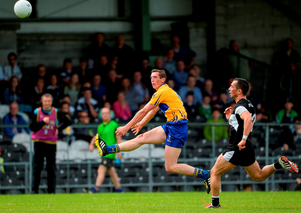 Clare's Cathal O'Connor scoring a point in the second half. Photo by Oliver McVeigh/Sportsfile
