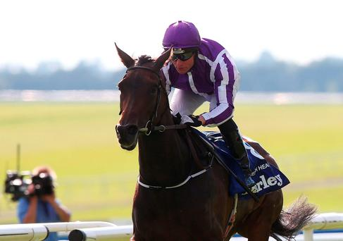 Seventh Heaven with Seamie Heffernan winning the Irish Oaks. Photo: Brian Lawless