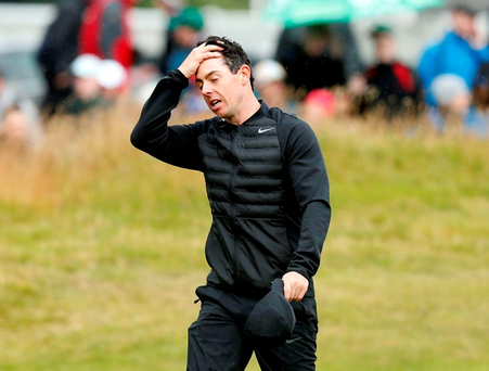 Disappointed: Rory McIlroy shows his frustration at Royal Troon yesterday. Photo: PA
