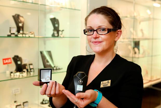 Sinead McKernan, manager of Chapelle jewellers in The Outlet, Banbridge, has noticed an increase in shoppers from south of the border. Photo: Gerry Mooney