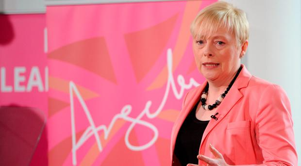 'Labour's Angela Eagle, in mid-press conference about her intention of standing against Corbyn, was abandoned by the press as they ran to cover Leadsom's announcement of her withdrawal.' Photo: Getty