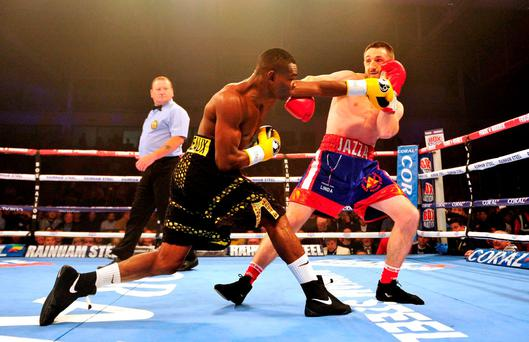 Guillermo Rigondeaux (left) in action against James Dickens during their WBA Super-Bantamweight World Championship fight