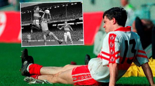 Joe Brolly in 1998 and (inset) Pat Spillane in action against Roscommon in 1980