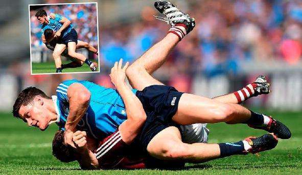 Diarmuid Connolly gets to grips with James Dolan