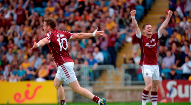 Gary Sice of Galway celebrates scoring his side's first goal