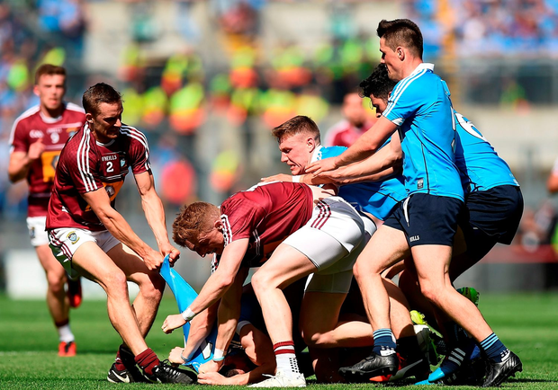 Dublin and Westmeath tussle during the Leinster GAA Football Senior Championship Final