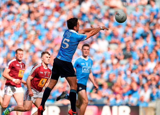 Bernard Brogan of Dublin scores his side's first goal