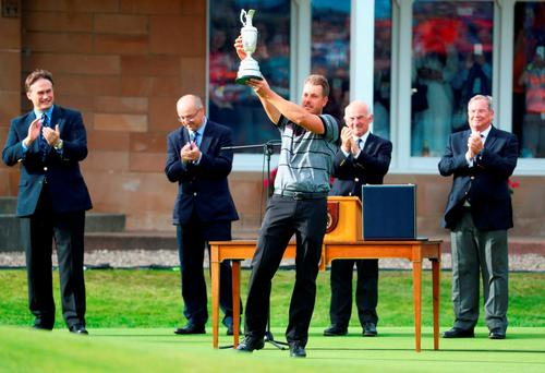 Henrik Stenson of Sweden celebrates victory with the Claret Jug after the final round on day four of the 145th Open Championship at Royal Troon. (Photo by Matthew Lewis/Getty Images)