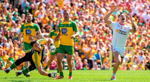 Tyrone's Cathal McCarron reacts after a missed chance on goal. Photo by Ramsey Cardy/Sportsfile
